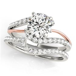 1.37 CTW Certified VS/SI Diamond Bypass Solitaire 2Pc Set Two Tone 14K White & Rose Gold - REF-210M2
