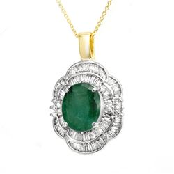 4.60 CTW Emerald & Diamond Pendant 14K Yellow Gold - REF-115T8X - 14244