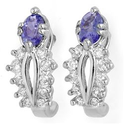 0.80 CTW Tanzanite & Diamond Earrings 18K White Gold - REF-50F2M - 10613