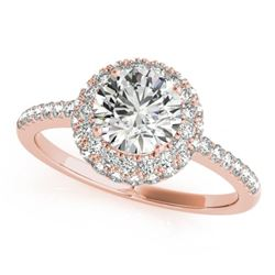 1.6 CTW Certified VS/SI Diamond Solitaire Halo Ring 18K Rose Gold - REF-389N3Y - 26486
