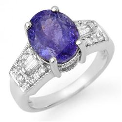 5.55 CTW Tanzanite & Diamond Ring 14K White Gold - REF-158H9W - 11694