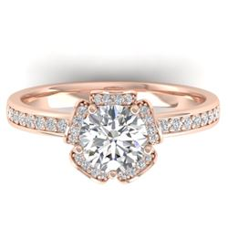 1.75 CTW Certified VS/SI Diamond Art Deco Ring 14K Rose Gold - REF-390H4W - 30274