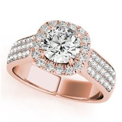 1.8 CTW Certified VS/SI Diamond Solitaire Halo Ring 18K Rose Gold - REF-435K5R - 26791