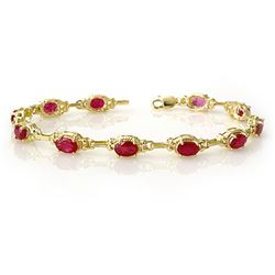 8.50 CTW Ruby Bracelet 10K Yellow Gold - REF-68X2T - 14234