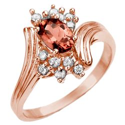 0.80 CTW Pink Tourmaline & Diamond Ring 14K Rose Gold - REF-36R2K - 10005