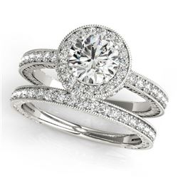 1.78 CTW Certified VS/SI Diamond 2Pc Wedding Set Solitaire Halo 14K White Gold - REF-411M3F - 31253