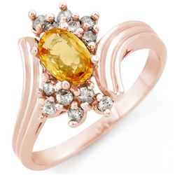 1.0 CTW Yellow Sapphire & Diamond Ring 14K Rose Gold - REF-35Y6N - 10232