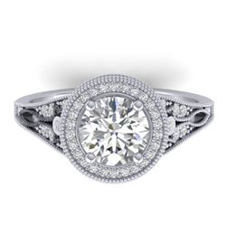 2.2 CTW Certified VS/SI Diamond Art Deco Micro Halo Ring 14K White Gold - REF-681N6Y - 30525