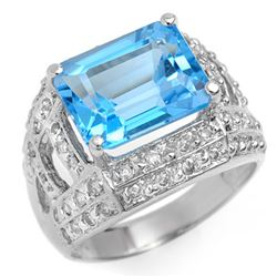 6.50 CTW Blue Topaz & Diamond Ring 14K White Gold - REF-79K8R - 10453