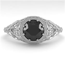 1.0 CTW Black Certified Diamond Engagement Ring Deco 18K White Gold - REF-65X3T - 36036