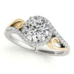 1 CTW Certified VS/SI Diamond Solitaire Halo Ring 18K White & Yellow Gold - REF-195H3W - 26856