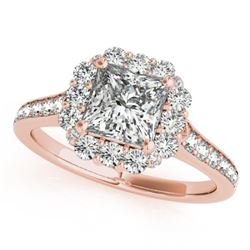 1.5 CTW Certified VS/SI Princess Diamond Solitaire Halo Ring 18K Rose Gold - REF-441T5X - 27157