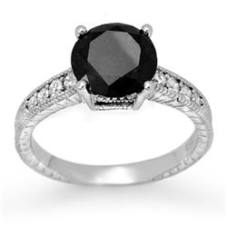3.0 CTW Vs Certified Black & White Diamond Solitaire Ring 14K White Gold - REF-117X3T - 11934