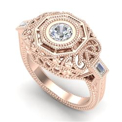 0.75 CTW VS/SI Diamond Solitaire Art Deco Ring 18K Rose Gold - REF-218R2K - 37044