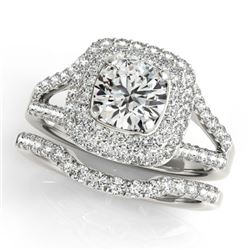 1.54 CTW Certified VS/SI Diamond 2Pc Wedding Set Solitaire Halo 14K White Gold - REF-176M2F - 30903