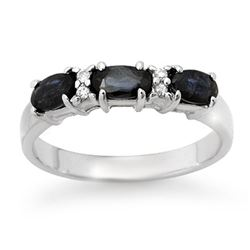 1.09 CTW Blue Sapphire & Diamond Ring 18K White Gold - REF-38W8H - 12339