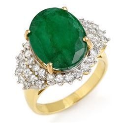 7.56 CTW Emerald & Diamond Ring 14K Yellow Gold - REF-144M2F - 12903