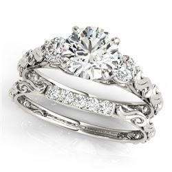 1.39 CTW Certified VS/SI Diamond 3 Stone 2Pc Wedding Set 14K White Gold - REF-368W2H - 32054