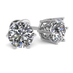 1.0 CTW Certified VS/SI Diamond Stud Solitaire Earrings 18K White Gold - REF-178W2H - 35820