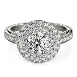 2.25 CTW Certified VS/SI Diamond Solitaire Halo Ring 18K White Gold - REF-481K5R - 26880