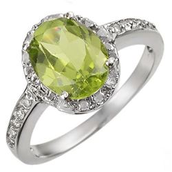 2.10 CTW Peridot & Diamond Ring 14K White Gold - REF-31F8M - 11438