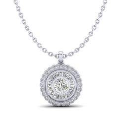 2.11 CTW VS/SI Diamond Solitaire Art Deco Stud Necklace 18K White Gold - REF-309H3W - 37085