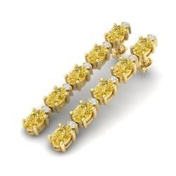 10.36 CTW Citrine & VS/SI Certified Diamond Tennis Earrings 10K Yellow Gold - REF-54F9M - 29393