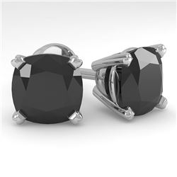 12 CTW Cushion Black Diamond Stud Designer Earrings 14K White Gold - REF-252H5W - 38395