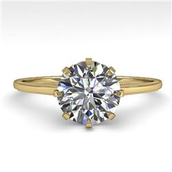 1.51 CTW Certified VS/SI Diamond Engagement Ring 18K Yellow Gold - REF-526K8R - 35761