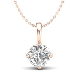 0.82 CTW VS/SI Diamond Solitaire Art Deco Stud Necklace 18K Rose Gold - REF-180K2R - 37026