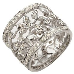 1.30 CTW Certified VS/SI Diamond Ring 14K White Gold - REF-103R3K - 10659