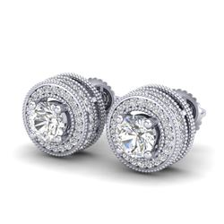 2.09 CTW VS/SI Diamond Solitaire Art Deco Stud Earrings 18K White Gold - REF-254W5H - 37139