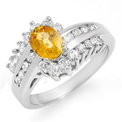 1.77 CTW Yellow Sapphire & Diamond Ring 18K White Gold - REF-92R2K - 13372