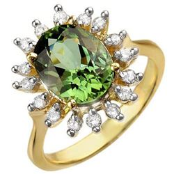 3.40 CTW Green Tourmaline & Diamond Ring 10K Yellow Gold - REF-78F9M - 10800