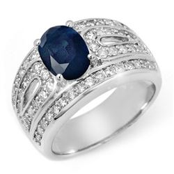 2.44 CTW Blue Sapphire & Diamond Ring 18K White Gold - REF-152N8Y - 11826