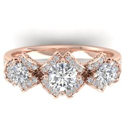 2 CTW Certified VS/SI Diamond Art Deco 3 Stone Ring Band 14K Rose Gold - REF-200K5R - 30283