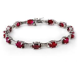14.54 CTW Ruby & Diamond Bracelet 10K White Gold - REF-81F8M - 13842
