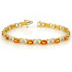 10.15 CTW Orange Sapphire & Diamond Bracelet 14K Yellow Gold - REF-86W9H - 11671