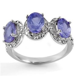 3.08 CTW Tanzanite & Diamond Ring 10K White Gold - REF-33K6R - 11304