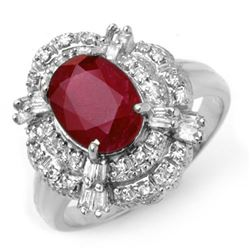 2.84 CTW Ruby & Diamond Ring 18K White Gold - REF-90Y9N - 12950