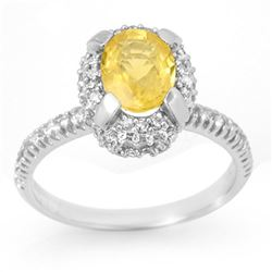 2.10 CTW Yellow Sapphire & Diamond Ring 14K White Gold - REF-58K8R - 11056