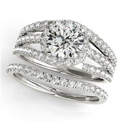 1.4 CTW Certified VS/SI Diamond Solitaire 2Pc Wedding Set 14K White Gold - REF-226K4R - 32009