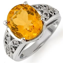 5.15 CTW Citrine & Diamond Ring 10K White Gold - REF-39H3W - 10989
