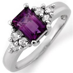 1.36 CTW Amethyst & Diamond Ring 14K White Gold - REF-51W3H - 10434