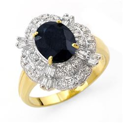 3.20 CTW Blue Sapphire & Diamond Ring 14K Yellow Gold - REF-69W3H - 13139