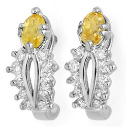 1.05 CTW Yellow Sapphire & Diamond Earrings 10K White Gold - REF-30N5Y - 10470