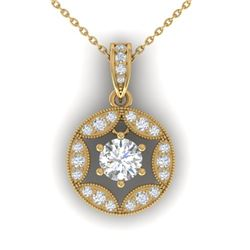 1.5 CTW Certified VS/SI Diamond Art Deco Stud Necklace 14K Yellow Gold - REF-363X3T - 30455