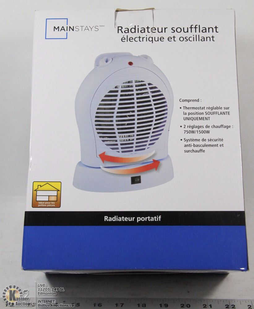 Mainstays Oscillating Electric Fan Heater Kastner Auctions