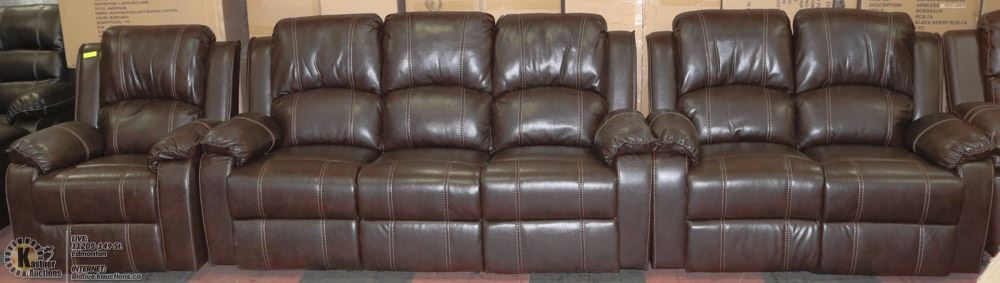 new munich dark brown leatherette sofa love seat kastner auctions. Black Bedroom Furniture Sets. Home Design Ideas