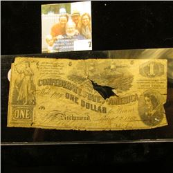 VINTAGE CONFEDERATE STATES OF AMERICA ONE DOLLAR NOTE DATED 1862